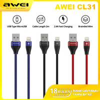 AWEI CL31 Kabel Data Charger Type Lightning 200cm Fast Charging 2.4A