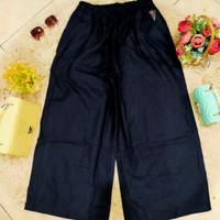 Celana Kulot Highwaist Bahan Rami Linen - Hitam, All Size