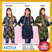Tunik Hoody Wanita Baju Motif Loreng Army Lengan Panjang Elegan AKINA