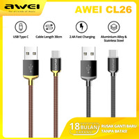 AWEI CL26 Kabel Data Charger Type C 30cm Fast Charging 2.4A