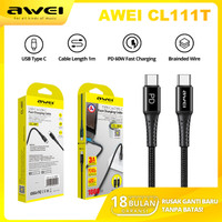AWEI CL111T Power Delivery (PD) 100cm Kabel Data USB Type C to Type C