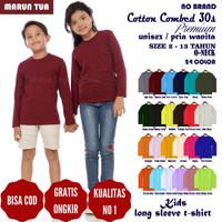 Tshirt Kaos Polos ANAK WANITA PEREMPUAN Soft Combed 30s Lengan Panjang - 2 Tahun