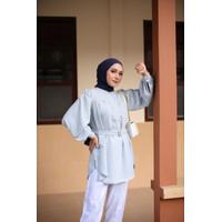 Baju Atasan Cantik Akia Tunik Rain Blue HR Simple Elegan - Rain Blue, XS