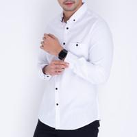 4928 Baju Kemeja Kantor Lengan Panjang Pria Oxford Slimfit Putih Murah
