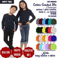 Kaos baju pakaian polos anak pria laki cotton combed 30s panjang 13 th