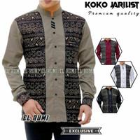 Baju koko pria lengan panjang batik hitam dewasa remaja terbaru murah