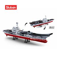 Sluban Bricks Kapal Perang Induk 2in1 Aircraft Carrier M38 B0698