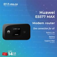 Huawei Mifi Modem Wifi Router 4G E5577 MAX Free Telkomsel 14Gb 2bln BK