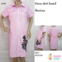 """Sherissa – Dress shirt hamil midi lengan pendek """"Venice"""" """"katun"""""""