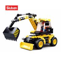 Sluban Bricks Mobil Excavator City Construction Alat Berat M38 B0805