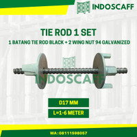 Tie Rod Bekisting 1 Set (1 btg Tie Rod BLACK, 2 pcs Wing Nut 94 GALV)