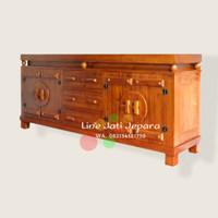 Bufet meja rak almari tv minimalis kayu jati, meja tv pintu laci jati