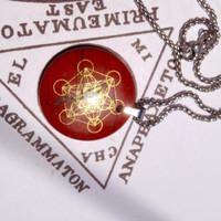 Kalung Titanium Batu Original Etnik Archangel Metatron Cube - Jasper Merah