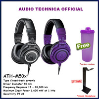 Audio-Technica ATH-M50x Professional Studio Monitor Headphone ATH M50X - Hitam, Free Thumbler