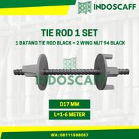 Tie Rod Bekisting 1 Set (1 btg Tie Rod BLACK, 2 pcs Wing Nut 94 BLACK)