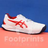 Sepatu Tenis Asics Gel Resolution 8 L.E White Classic Red Tennis Shoes