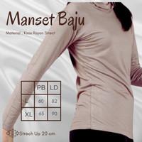 (Uk-XL) Inner Baju Manset Wanita Turtle Neck Lengan Panjang Kaos Rayon - Broken White