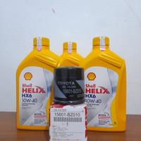 promo paket 3L oli shell hx6 10w-40+filter oli calya,agya,ayla,sigra,