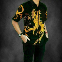 Batik Pria Lengan Pendek Pekalongan Kemeja Cowok Murah Keren Naga emas