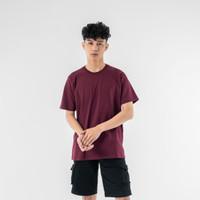 LEMONE Combed Spandek Kaos Polos Atasan Lengan Pendek Unisex Series 2 - Anggur, XS