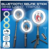 Tongsis Tripod LED Ringlight Bluetooth Selfie Stick