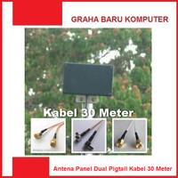 Antena Panel Dual Pigtail Penguat Sinyal Modem Internet 30 Meter