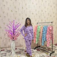 Ready Baju tidur piyama wanita setelan PP motif daun maple bahan adem - Ungu, Fit to L