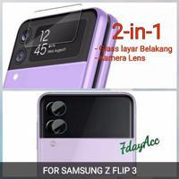 SAMSUNG Z FLIP 3 TEMPERED GLASS LAYAR BELAKANG + ANTI GORES KAMERA - lyr blkg+kamera
