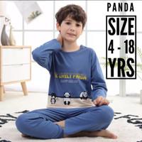 Baju Tidur Anak Remaja Cowok - Piyama Anak Remaja Laki Laki - Panda - 4 - 5 Yrs