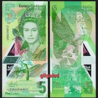 EASTERN CARIBBEAN 5 DOLLAR 2021 POLYMER UANG ASING [NEW]