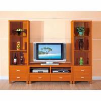 lemari rak tv minimalis kayu jati solid modern simple