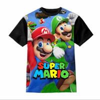 Baju anak Kaos anak Unisex Series 3D Anime Mario Bros Best Friend - Hitam, S