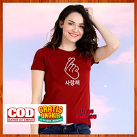 Baju Kaos Korea/Korean Style - Kaos Wanita/Pria Distro Murah - Maroon - Maroon, S