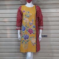 dress/tunik wanita batik cap kombinasi tulis - Kuning, S