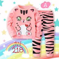 baju tidur Anak perempuan lengan panjang unicorn kelap kelip led - JW218-A CAT, size 95