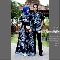 Baju couple dress gamis jumbo ld 120 batik sarimbit hem sakura