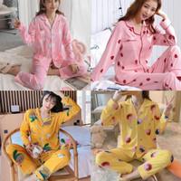 set piyama wanita dewasa pp kerah kaos import