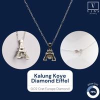 Kalung Koye Liontin Eiffel Dancing Diamond Necklace Berlian White Gold