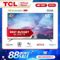 TCL 55 inch Ultra HD Android 9.0 Smart TV - 4K LED TV - Netflix 55A8