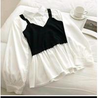 WSW- baju atasan wanita blouse cute lengan panjang hitam putih