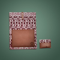 Batik Fractal Bundling Laptop Case + Card Case Batik Motif Red Baron