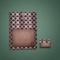 Batik Fractal Bundling Laptop Case+Card Case Batik Motif Brown Kawung