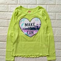 Baju kaos panjang anak perempuan brand original Justice hijau stabilo