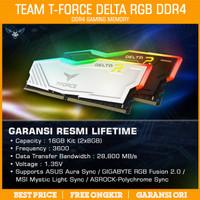 Ram Team T-Force Delta RGB 16GB Kit 3600 Black/White PC DDR4 3600MHz - Putih