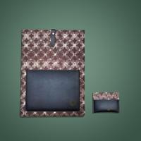 Batik Fractal Bundling Laptop Case+Card Case Batik Motif Grey Kawung
