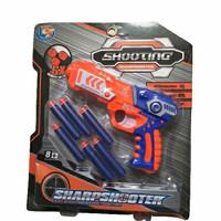 Mainan anak pistol tembak tembak / shooting sharpshooter 6 peluru soft