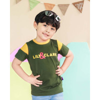 Lily And Clark Baju Anak Lak-Laki Warna Hijau Salur Kuning KLC34