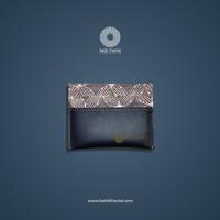 Batik Fractal Card Case Batik Motif Grey Kawung