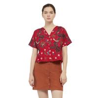 Batik Fractal Atasan Wanita Motif Merak Merah Blouse