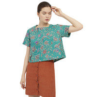 Batik Fractal Atasan Wanita Anggrek Hijau Blouse